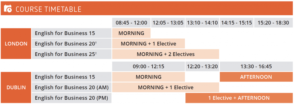 English for Business course timetable