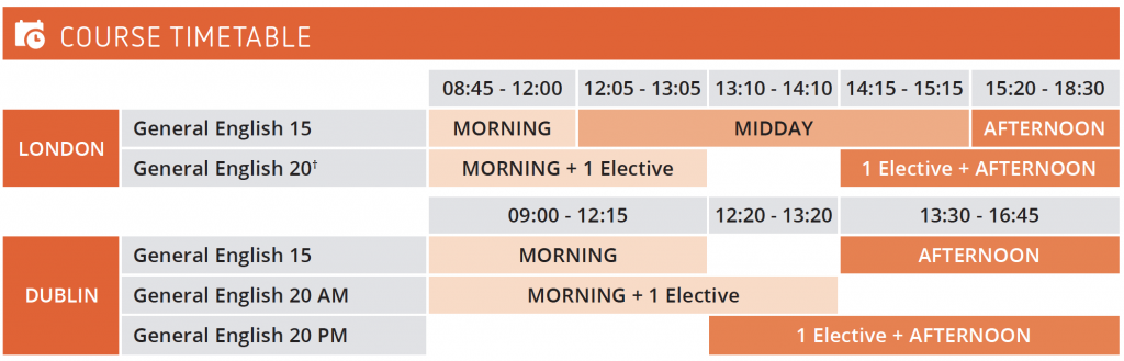 General English Course example timetable