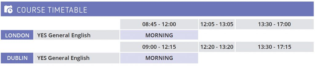 English course for junior timetable